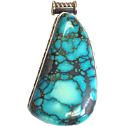 SALE Hand Made Turquoise Pendant with Sterling Silver Bali Design.