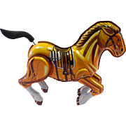 REDUCED Vintage Tin Mechanical Wind-up Toy Horse