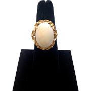 REDUCED Vintage Angel Skin Coral Ring with 14K gold band