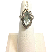 REDUCED Vintage Marquise Aquamarine Ring with 14K White Gold and Elegant Filigree