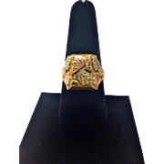 REDUCED 14K Vintage Black Hills Gold Ring with Square Facing