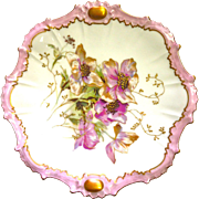 REDUCED Rare Antique Limoge Hand Painted Plate with Flowers, Pink Band, and Gold Trim