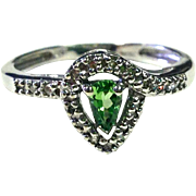 REDUCED Pear Cut Tsavorite Garnet Ring with round Diamonds and 10K White Gold