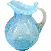 SALE Antique Aqua Blue Opalescent Pitcher with Fern & Daisy Pattern