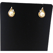 SALE Tear Drop Shaped Vintage Pearl Earrings with 10K Yellow gold and Accent Diamonds