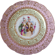 SALE GFB & Co Porcelain Plate with painting of fashionable ladies, pink rim, and gold outline