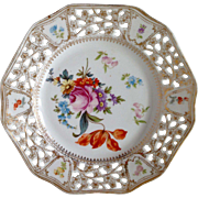 SALE Vintage Bavaria Porcelain Plate with Beautiful flower painting and hole rim