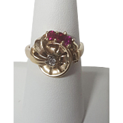 Ruby & Diamond Swirl Ring