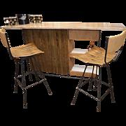 SALE Arthur Umanoff Mid-Century Modern Cocktail Bar & Two Chairs