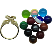 SALE Interchangeable Colored Stone Bead Ring - 14k Yellow Gold