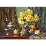 Original Still Life Painting, Oil on Canvas, Fruit, Yellow Roses, and Silver Vessels 1937