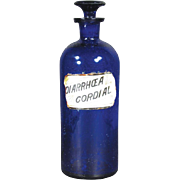 "Cobalt Blue Glass Apothecary Bottle Label under Glass - Diarrhea Cordial 10 1/2"" Tall"