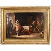 """19th Century English School Oil on Canvas Painting """"Cavaliers in a Tavern"""" by W. M ."""