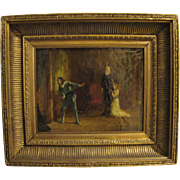 """The Conspirators"" 19th Century Oil on Canvas painting genre scene"