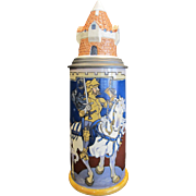 Outstanding Mettlach 1L Knight on White Horse Beer Stein with Turreted Castle form lid