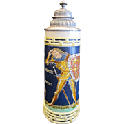 Mettlach David and Goliath 1L German Beer Stein #2718 dated 1907