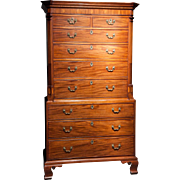 A Very Fine English Antique Chest on Chest in Mahogany