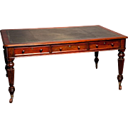 English Antique Writing Table in Mahogany fitted with 6 drawers, circa 1840.