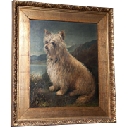 A British 19th early 20th century oil painting of a Scottish terrier.