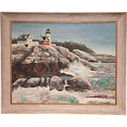 An oil painting of a Lighthouse, 20th century.