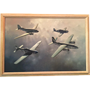 An oil painting by Charles J. Thompson of a Group of classic WW II aircraft.
