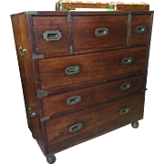 An outstanding English Campaign chest in mahogany with desk, circa 1850.