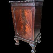 English Edwardian mahogany music cabinet, Chippendale design