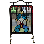 English 19th century Arts and Crafts fire screen, circa 1880