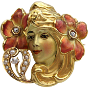 Art Nouveau Enamel Beauty Blonde Woman with Pink Flowers in Her Hair, Seed Pearls & Old ...