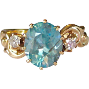 Blue Zircon & Diamond Antique Ring