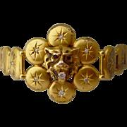 Victorian Lion's Head Old European Cut Diamond & Ruby 10K Gold Link Antique Statement Bracelet