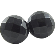 Whitby Jet Round Faceted Earrings Sterling