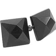 Whitby Jet Square Faceted Earrings Sterling