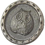 Victorian Pewter Chubby Owl Button