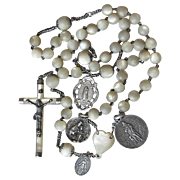 French Silver Rosary Mother of Pearl Four Medals Signed 1920's