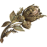 French Silver Gilt Rosebud Brooch Circa 1900 Highly Detailed Hand Crafted