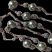 Vintage Flapper Deco Necklace Glass Pearls Filigree Guilloche Enamel
