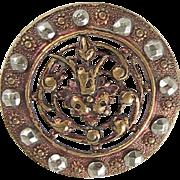 Antique Button Flower Cut Steel Trim Red Tint