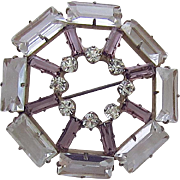 Czech Deco Rhinestone Glass Pin Pendant Crystal Amethyst Color