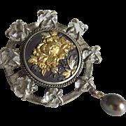 Antique Victorian Silver Shakudo Meiji Rock Crystal Pin Unusual