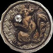 Victorian Picture Button Squirrel Cut Steel