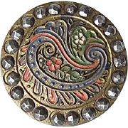 Antique Victorian Cut Steel Button Paisley Enamel