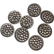 Antique Victorian Cut Steel Buttons Set of 8
