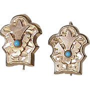 Antique Victorian Earrings Gold Filled Turquoise Glass Stones