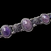 Vintage Bracelet Sterling Silver Amethysts Heavy