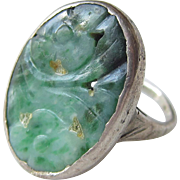 Vintage Sterling Silver Jade Ring Hand Crafted Floral