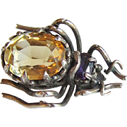 Victorian Beetle Pin Sterling Silver Citrine Amethyst