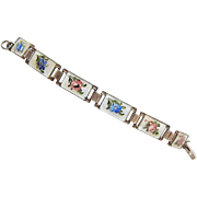 Sterling Guilloche Enamel Bracelet Norway Marius Hammer 5.5 Inches