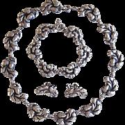 Viking Craft Sterling Silver Parure Acorns Necklace Bracelet Earrings