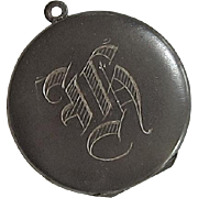 Victorian Steel Locket Monogrammed